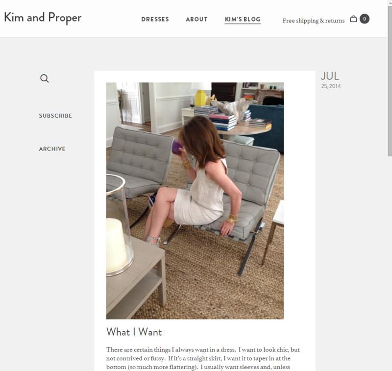 Screenshot of new blog